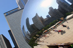 The Cloud's City Reflection. The Cloud/Bean in Millennium Park, Chicago IL Stock Photography