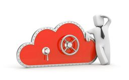 Cloud and safe lock with businessman Stock Photography