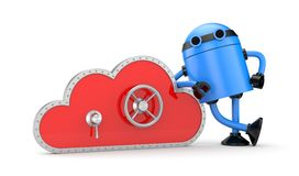 Cloud and safe lock with robot Stock Photo