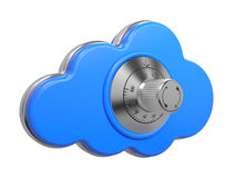 Cloud with Safe Lock. Secure concept. 3D. Cloud Computing Concept. One Cloud with Safe Lock. 3D Illustration royalty free illustration