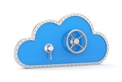 Cloud and safe lock. Secure metaphor. Royalty Free Stock Photos