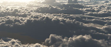Cloud scape. From above with sunlight Stock Image