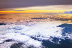 Cloud scape over morning sky from plane window Royalty Free Stock Photography