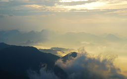 Cloud sea. Chinese Guangdong first peak Mt. Tiantai view cloud sea Royalty Free Stock Photos