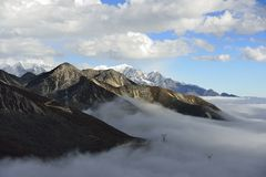 The cloud sea of Mountain Zheduo Stock Images