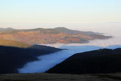 Cloud sea over the valley of Munster Stock Photo