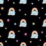 Cloud seamless print Rainbow stars clouds fabric Seamless pattern Cute cartoon Dark background Baby design