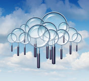 Cloud Search. And internet guide as a group of magnifying glasses in the cloudscape sky as a business and technology concept of searches on mobile communication Stock Image