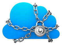 Cloud Secured with a Lock Royalty Free Stock Image