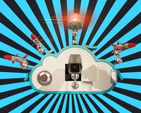 Cloud security with black and blue background Royalty Free Stock Images