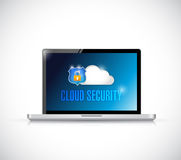 Cloud security computer sign illustration Royalty Free Stock Image