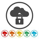 Cloud Security Concept. Cloud icon locked with padlock stock illustration