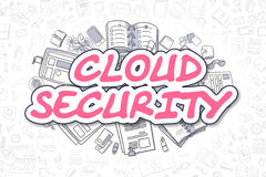 Cloud Security - Doodle Magenta Text. Business Concept. Royalty Free Stock Image