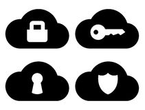 Cloud security icons set Royalty Free Stock Photography