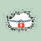 Cloud security. Illustration of cloud security. Flat vector design stock illustration