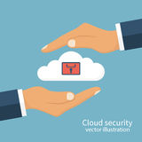 Cloud security, protected. Vector illustration flat design. Cloud computing and protecting data holding in hand man Royalty Free Stock Image