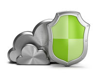 Cloud security. Shield protects the steel clouds. 3d image. White background Stock Photo