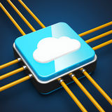 Cloud server. Cloud computing server concept on blue background Royalty Free Stock Photos
