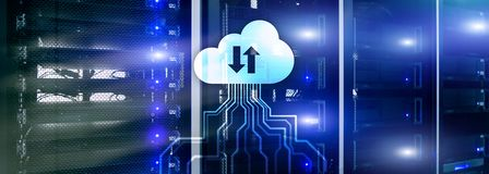 CLoud server and computing, data storage and processing. Internet and technology concept royalty free stock image