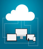 Cloud server with gadgets and relations. Vector illustration, flat designe Stock Photo