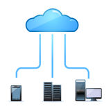 Cloud server room services. Access to server room or cloud using personal computer, tablet or gadget Royalty Free Stock Photos