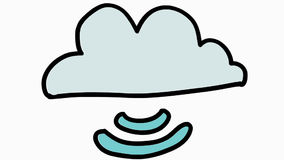 Cloud server storage cartoon illustration hand drawn animation transparent