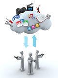 Cloud server teamwork concept. Cloud server teamwork and sharing concept 3d illustration Stock Photo