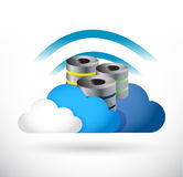 Cloud server and wifi signal message Stock Images