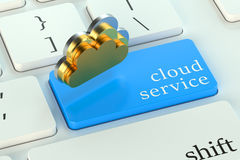 Cloud servic on keyboard button Royalty Free Stock Photos