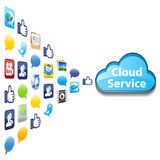 Cloud Service. Various cloud service include file storage, photo, music and video share, social media and email communication Royalty Free Stock Image