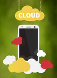 Cloud service with cell phone vector Stock Photography
