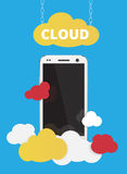 Cloud service with cell phone vector Royalty Free Stock Images