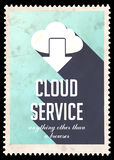 Cloud Service Concept on Blue in Flat Design. Royalty Free Stock Photo