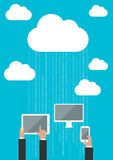 Cloud service concept with connected devices Stock Photography