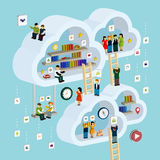 Cloud service concept 3d isometric infographic Royalty Free Stock Photography