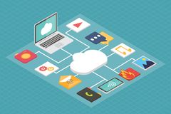 Cloud service concept, isometric flat vector Stock Image