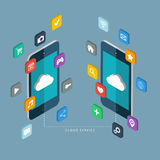 Cloud service concept. Mobile phones with apps icons. Stock Photo