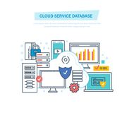 Cloud service database. Computing, network. Data storage device, media server. Cloud service database. Computing, network. Data storage device, media server vector illustration