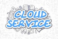 Cloud Service - Doodle Blue Inscription. Business Concept. Royalty Free Stock Images