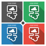 Cloud service flat vector icon on colorful background. simple PC web icons eps8. Stock Images