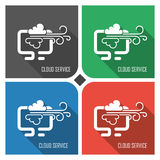 Cloud service flat vector icon on colorful background. simple PC web icons eps8. Royalty Free Stock Image