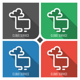 Cloud service flat vector icon on colorful background. simple PC web icons eps8. Stock Photography