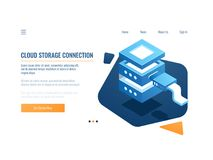 Cloud service icon, banner remote data storage and backup system, server room, datacenter and database isometric vector royalty free illustration