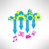 Cloud service icon with multimedia. Network Stock Photos
