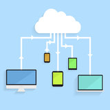 Cloud service. Minimalistic illustration of different electronic devices with connection to the cloud, symbol for cloud networking Royalty Free Stock Photos