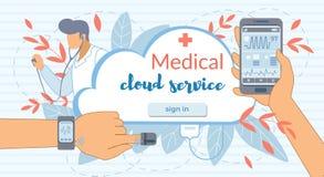 Cloud Service, Modern High Tech Devices Medicine stock illustration