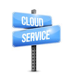 Cloud service road sign illustration design Royalty Free Stock Photos