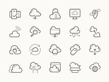 Cloud service server hosting line icons Stock Images