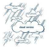 Cloud service sketch. Conservation and use of personal data via the Internet royalty free illustration