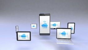 Cloud service in smart phone with ubiquitous mobile device concept stock video